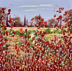 The Wild Flower Villa II by Mary Shaw - Original Painting on Board sized 18x18 inches. Available from Whitewall Galleries