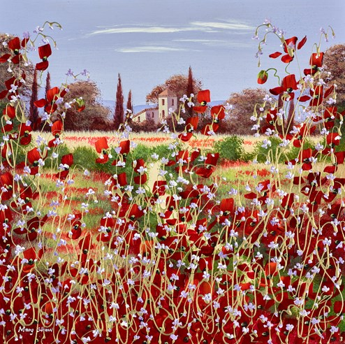 The Wild Flower Villa II by Mary Shaw - Original Painting on Board